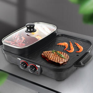 cast iron electric bbq grill with hot pot China supplier