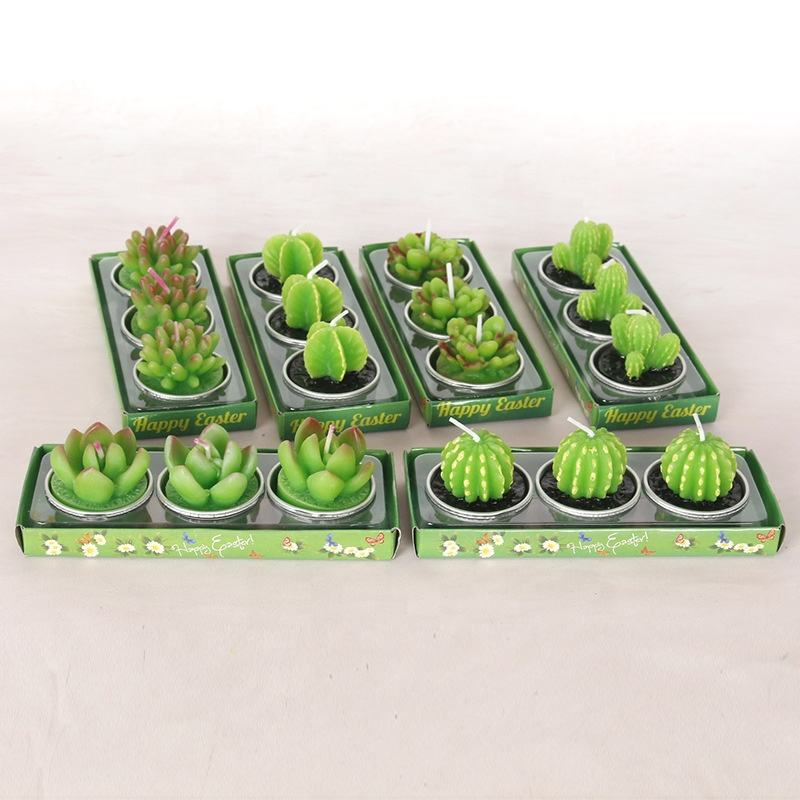 3pcs Artificial Succulent Plants Cactus Scented Candle For Family Decoration