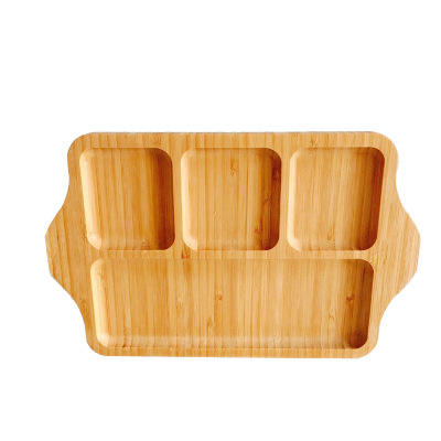 Standard Shape 4 Divided Wall Serving Bamboo Plate With Handle for Nuts, Fruit and Breakfast