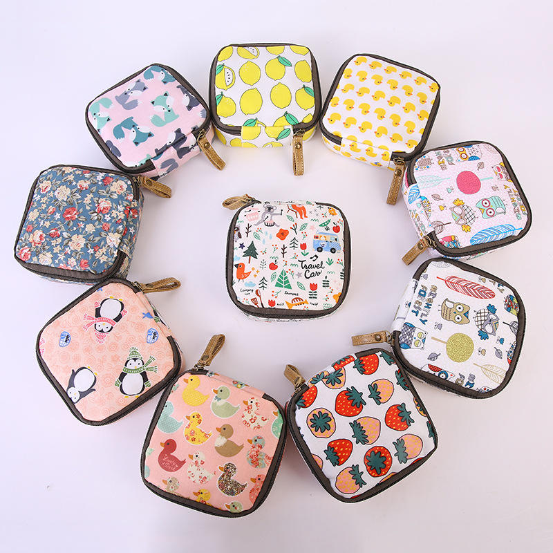 Modern girl cotton coin purse small fancy coin purses key pouch