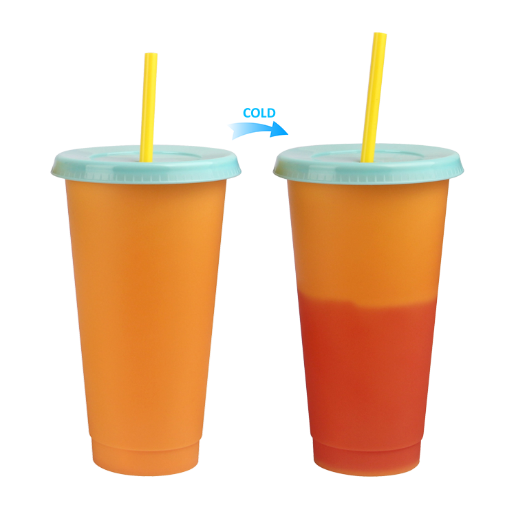 Empty plastic cold color changing drink cups with lid single wall