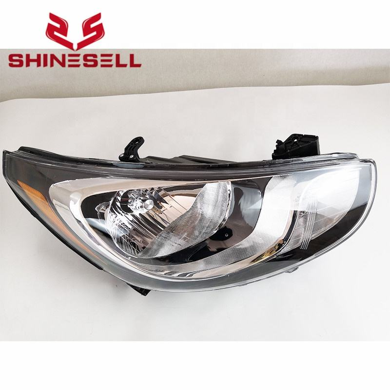 Halogen front black headlamp for Hyundai Accent 2012 2013 2014
