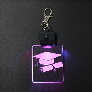 SOCOVE SCKC-001 7 Color Changing Holiday Gifts 3D Night Light Lamp Little Small Graduation Keyring Keychain with Rectangle Shape
