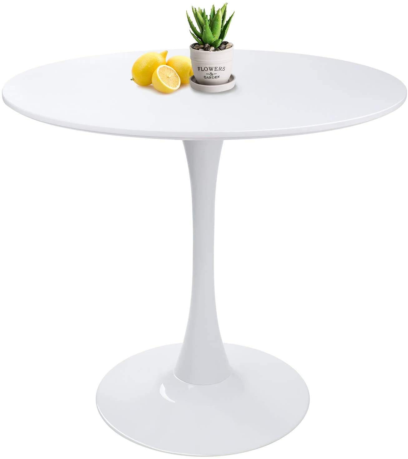 Combohome White Mid-Century Tulip Pedestal Leisure Table White Modern Round Dining Side Table Table