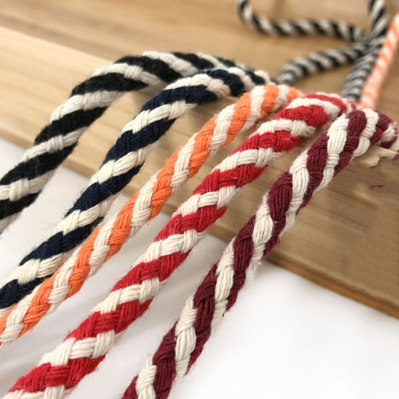 Deepeel CD005 6mm DIY Braided Cotton Rope Drawstring Belt Twisted Cords DIY Woven Macrame Cord Cotton Rope Binding Accessories