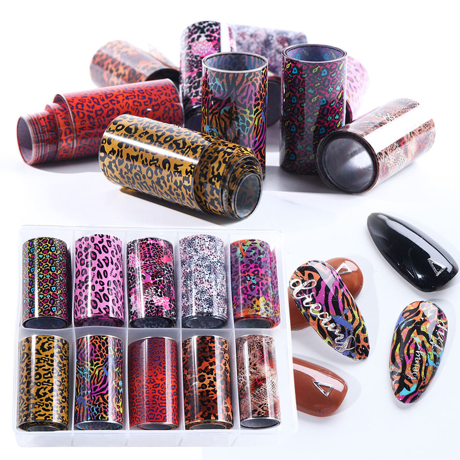 10 Roll/Case Starry Sky Nail Art Transfer Slider Cute Leopard Print Pink Red Yellow Nail Foil Sticker Kit