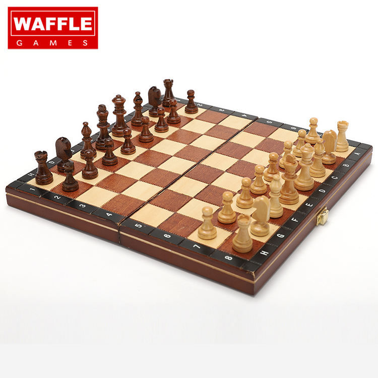 WAFFLE GAMES Nice Crated Wooden Game Chess With Hand Crafted Chessmen