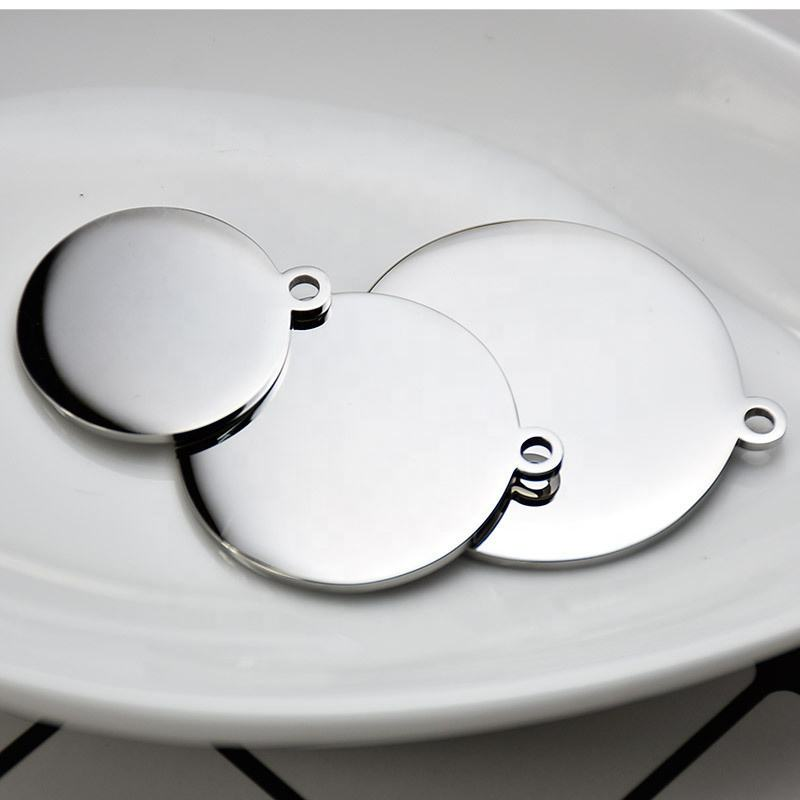 DIY High Quality Stainless Steel Jewelry Factory Custom High Polished Disc Pendant Any Size Engravable Gold Plated Charm