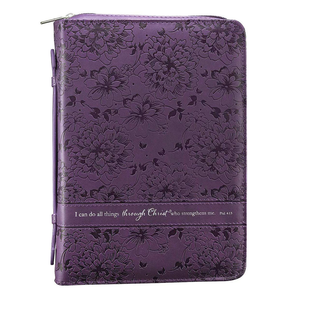 Christian Art Gifts Purple Faux hand Leather Bible Covers Holder Philippians 413 Zippered Bible Case