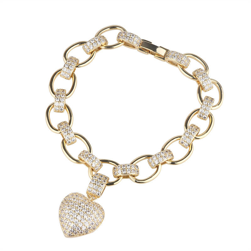 Hot selling south American style love heart shape diamond Zircon gold heart women bracelet