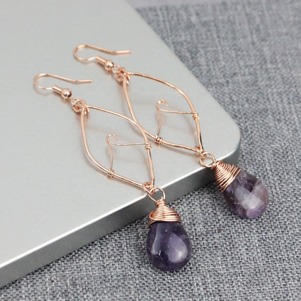 BD-T346 unique design drop quartz earring,natural gemstone earring amethyst&black onyx with brass metal wire wrap long earring
