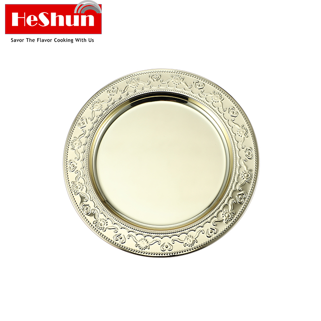 Round Stainless Steel Serving Trays,Eco Friendly Metal Feeding Dinner Dishes,Reusable
