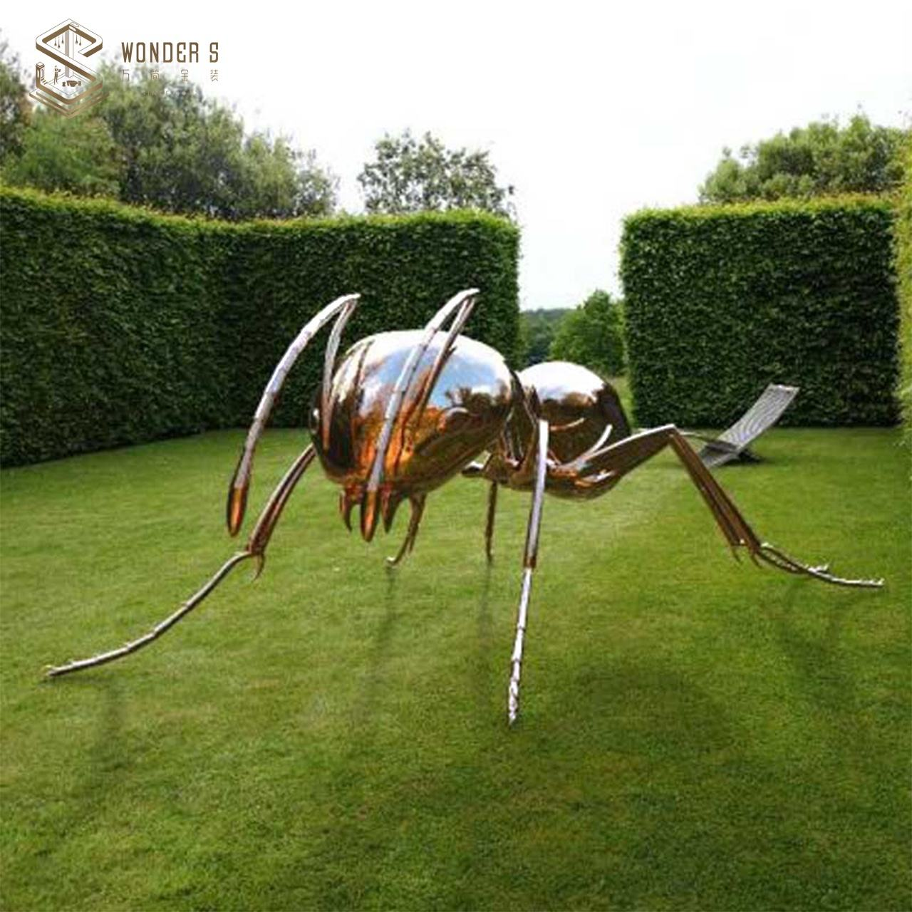 Metal art Giant Ant Sculpture for outside stainless steel Park decoration