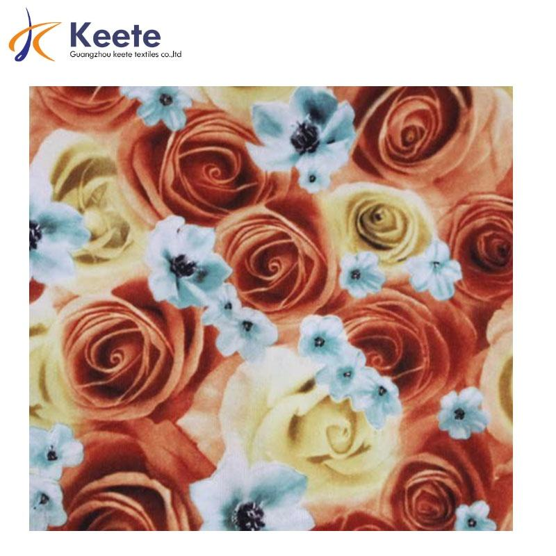 Customized garment cotton textile rose flower pattern 100% cotton printed single jersey fabric
