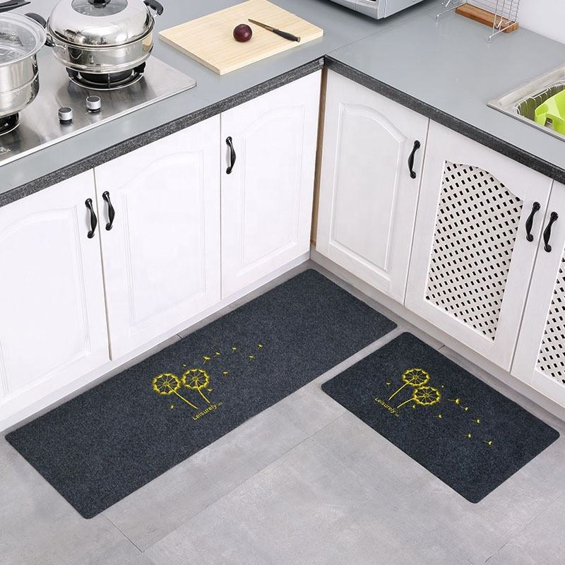Factory wholesale cheap price embroidery easy cleaning floor protection kitchen mat waterproof and anti-slip kitchen mat