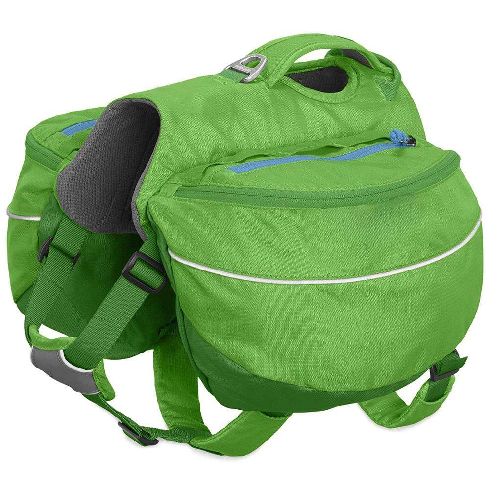 Large Capacity Green Hiking Dog Backpack Waterproof Reflective Dog Saddle Bag for Camping
