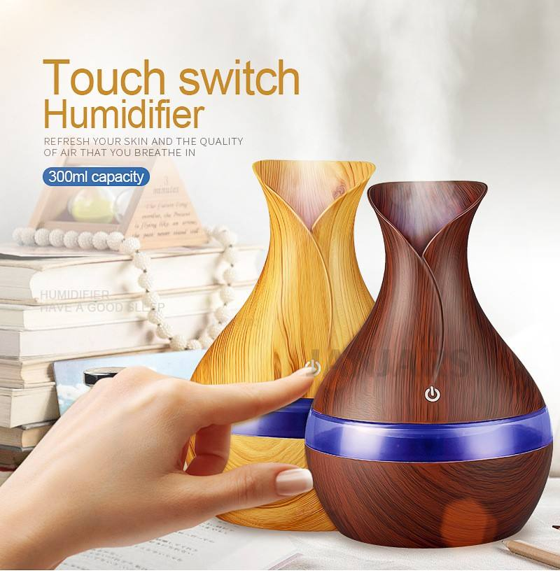 300ml USB electric Aroma Essential Oil Diffuser Ultrasonic Air Humidifier Wood Grain LED Lights aroma diffuser for home
