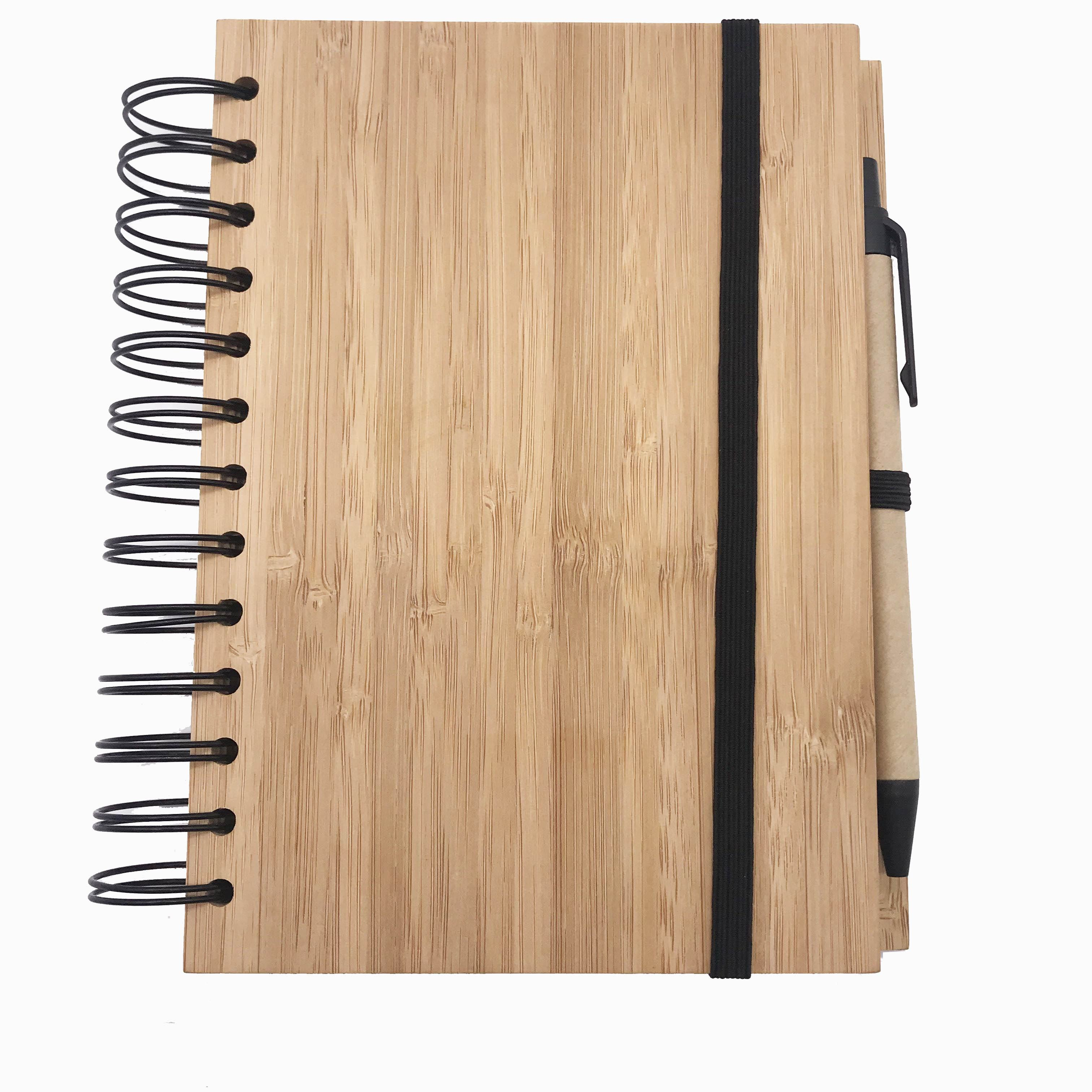 A6 80 Sheets Customized Recycle Wooden Bamboo Cover Spiral Notebook With Pen