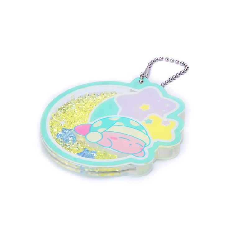 Promotional custom printing cartoon animation transparent acrylic animal keychain with bead