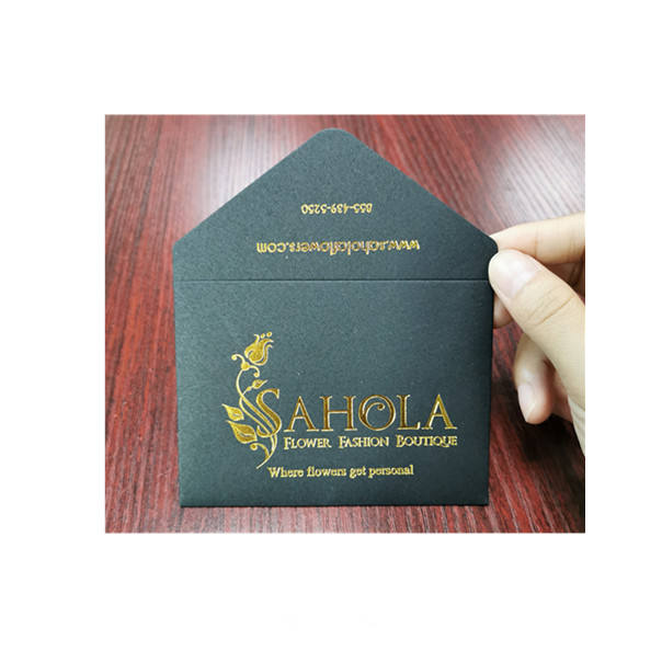 Custom order logo gold foil gift card packaging black paper envelope