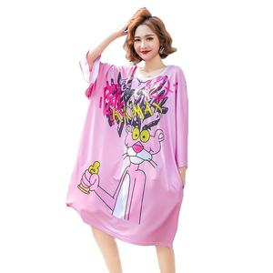 Wholesale European and American Woman Dresses Casual Multi Patterns Print Plus Size Big Cartoon Dress