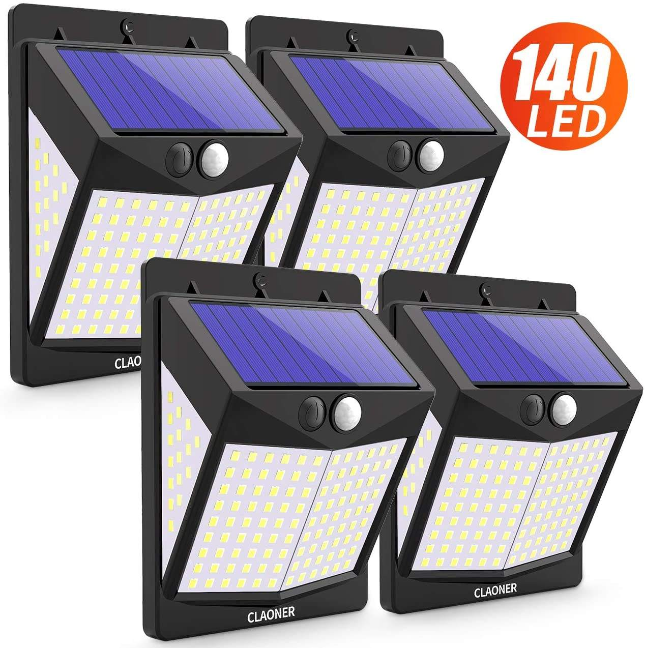 140 LED IP65 Waterproof Security Solar Wall Lights , 3 Modes Wireless Solar Lights Outdoor
