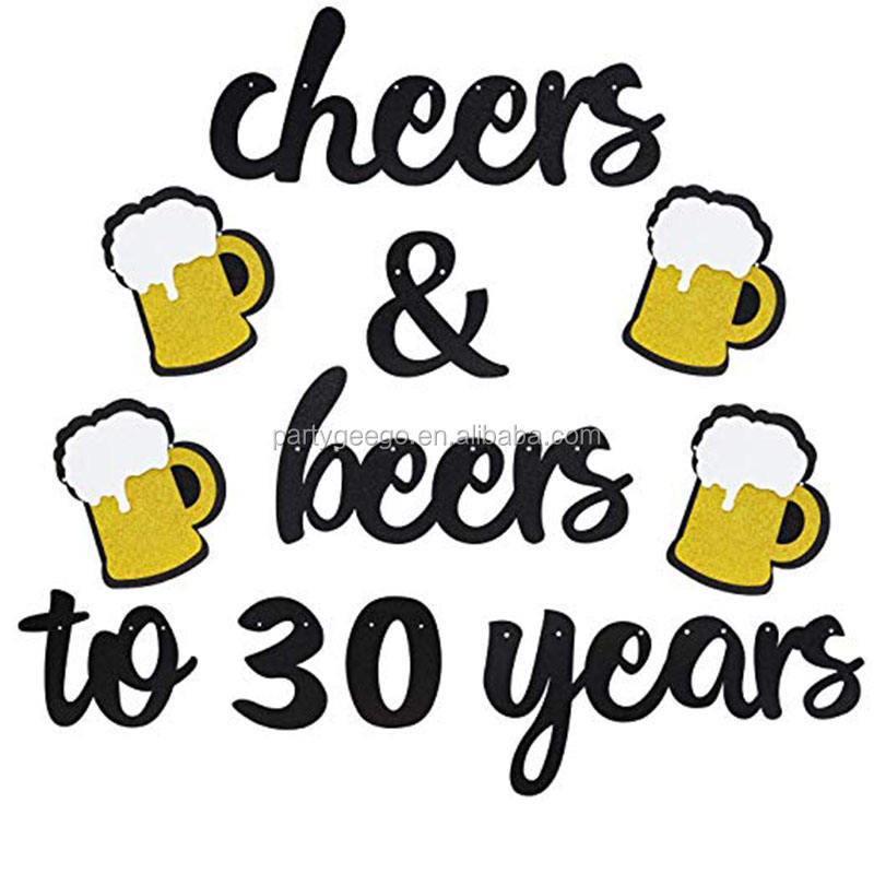 cheers&beer to 30 years gold black dust banner birthday party wall decoration