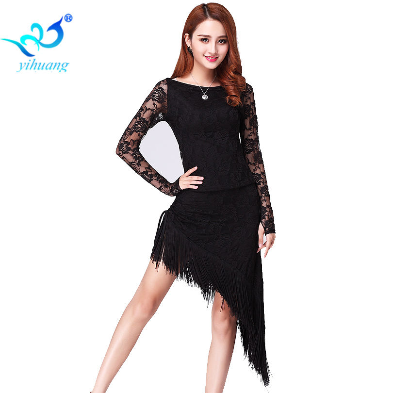 High Quality Latin Dance Set Blouses & Skirt Fringes Lace Ballroom Performance Costumes with Tassel Salsa Tango Dress