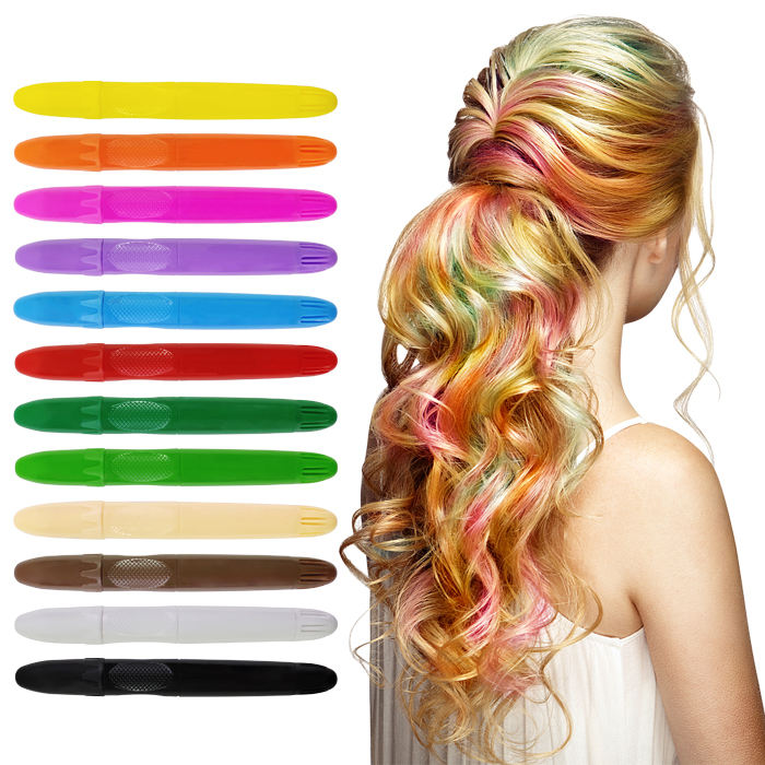 Amazon Hot Sales Non-toxic 12 Color Hair Chalk Stick For All Hair Colors