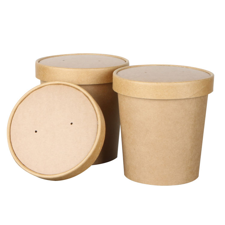 disposable food container waterproof and grease proof brown kraft paper soup bowl with paper lid