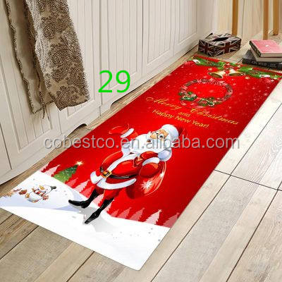 3D Christmas Anti-slip Kitchen Dinning Room Fireplace Floor Mat Flannel Carpet Rug Durable Xmas Home Decor Fl