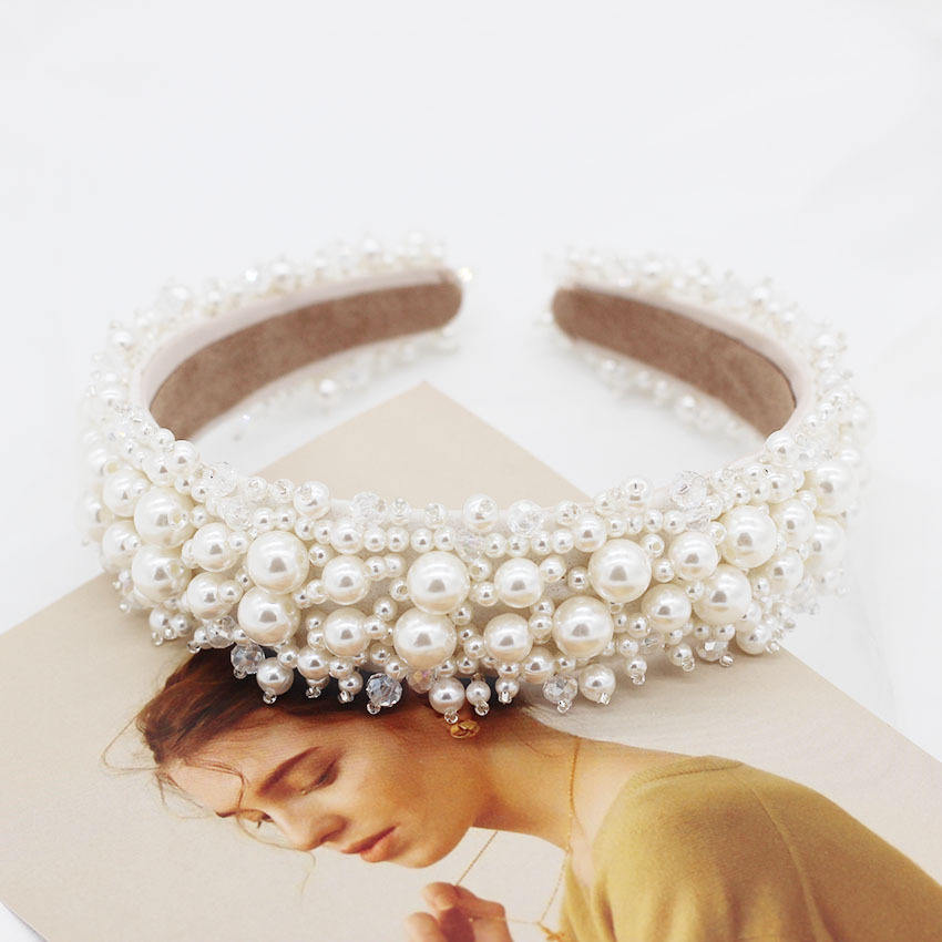 2020 New Trend Luxury Pearl Headband For Elegant Women Fashion Vintage Pearl Beaded Girls Hair Accessories