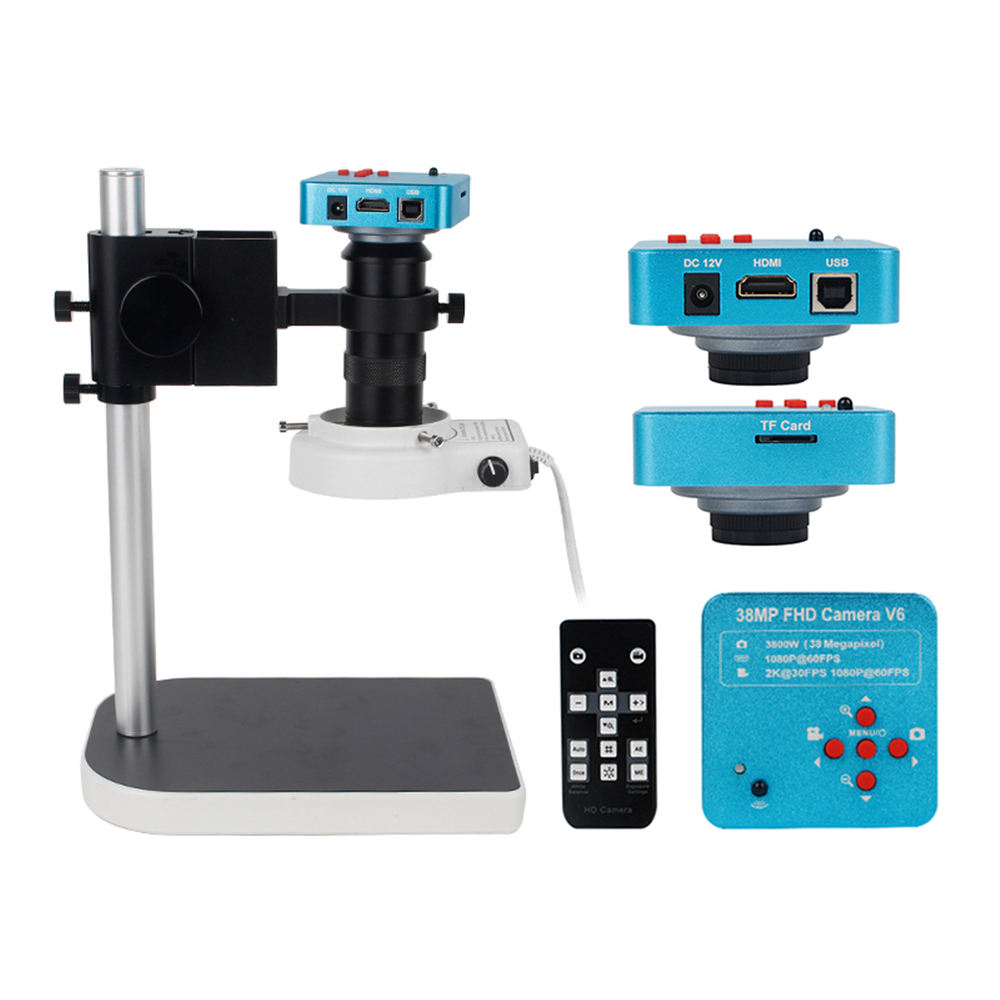 Video Microscope HDMI 38MP USB Industrial Microscope Camera 1080P 60FPS 130X C-mount Lens LED Light for Repair Soldering Chip