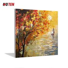 abstract red tree scenery and couple oil painting pure hand painted wall art home decor picture large framed oil painting
