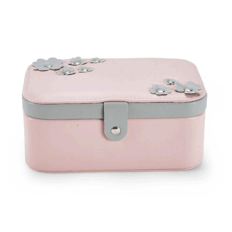 Wholesale Custom Logo Fashion PU Leather Handmade Velvet Jewelry Box With Metal Button Pink Travel Jewelry Organizer Case