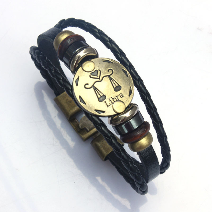 2020 woven pu leather vintage twelve zodiac charm bracelets,wholesale 12 zodiac bracelet