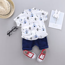 2019 comfortable casual hot selling  popular printed short-sleeved shirts bulk wholesale kids clothing boys children clothes