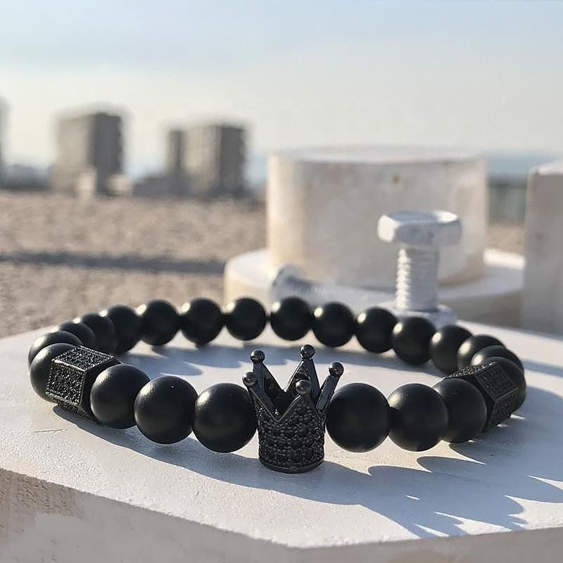 Wholesale fashion accessories 8mm Black Stones bead Rhinestone Men Crown Bracelet For Gifts designer charms for diy bracelet