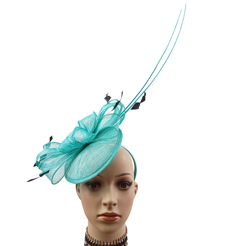 Ladies sinamay hair accessories feather fascinator headband
