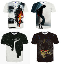 Summer Popular 95%polyester 5%cotton  OEM Custom 3D Digital Printing Men T-Shirt