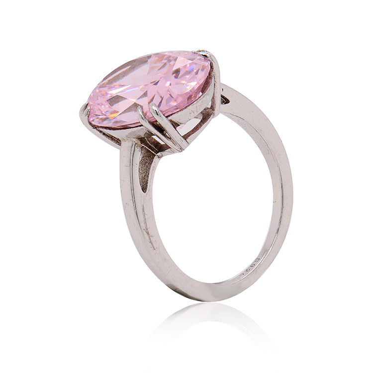 Hot Selling Factory Wholesale Zilveren <span class=keywords><strong>Sieraden</strong></span> Hoge Kwaliteit Made In China Custom Lucky Roze Steen Ring