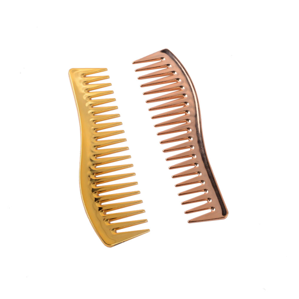 GoldとGold Rose Fashionable Hairdressing ABS Plastic Wide Tooth Comb