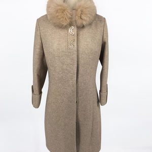 High quality european winter fur coat cotton liner single Breasted women trench coat sexy wool cashmere long coat ladies