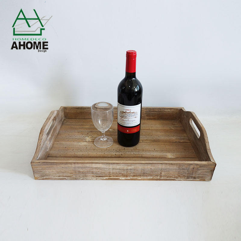 Rustic Style Durable Wooden Food Serving Tray