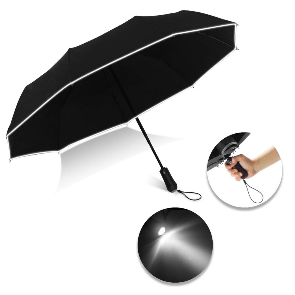 High Quality Wholesale Custom 3 Fold Automatic Flashlight Umbrella with LED Light Handle with Reflective Stripe