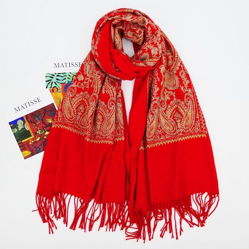 The latest warm scarf cashew embroidered tassel scarves solid color cashmere shawl pashmina
