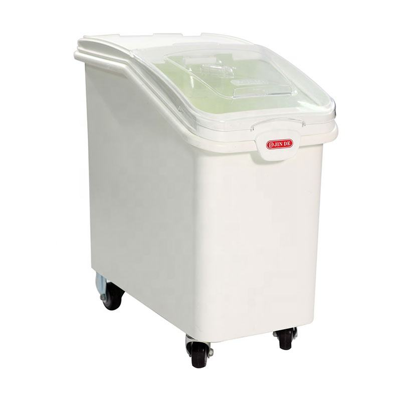 102L Kitchen Plastic Storage Bin With Wheel and Lids for Rice Flour Ingredient