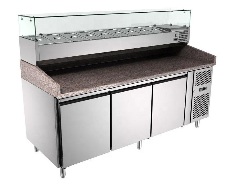 Bancada comercial geladeira display Counter top display chiller contador de pizza pizza pizza bancada mesa de aço inoxidável