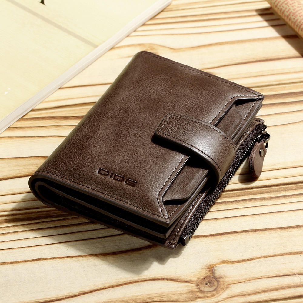 Men's Short type Genuine leather Bifold wallet Coin purse wallet to hold many cards and coins