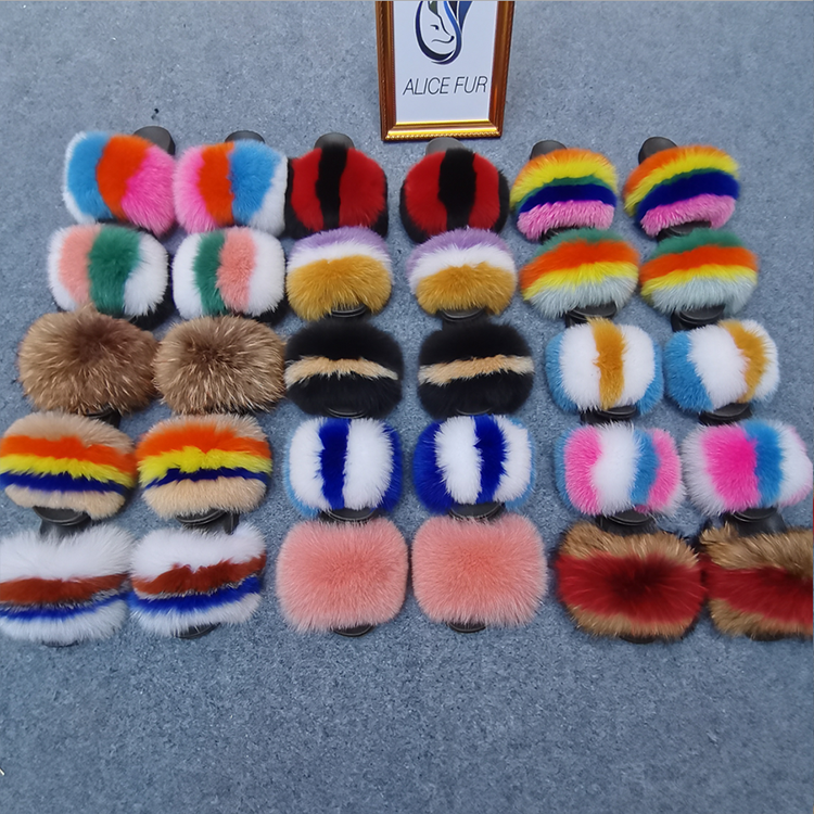 Wholesale women real big fluffy fur slippers natural fur slides sandals with thick fur